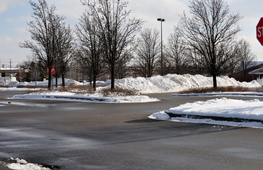 Snow Plowing Commercial Lot